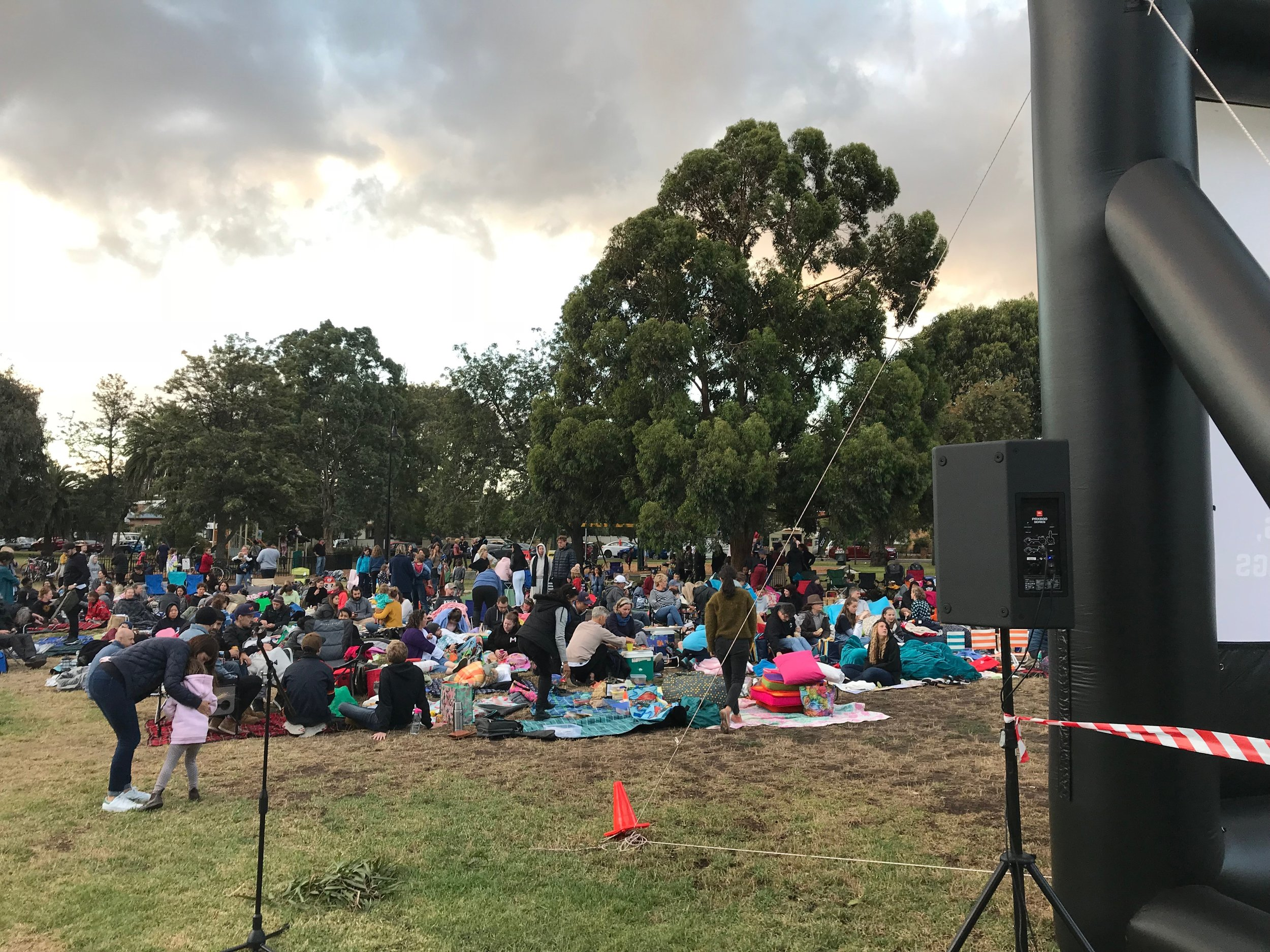 Free, community screenings in parks - Every years we put on over a hundred outdoor movies events and many of these are for the generous Melbourne city councils (such as Darebin, Moreland, Maribynong) who put on free movies for their community. This one was in Penders Park for Darebin council last summer. We can provide everything including power if need be.
