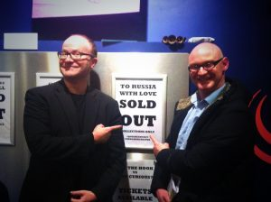 STEPHEN M HORNBY (LEFT) AND DIRECTOR DAVID MANSELL (RIGHT) CELEBRATE SELLING OUT #TRWL