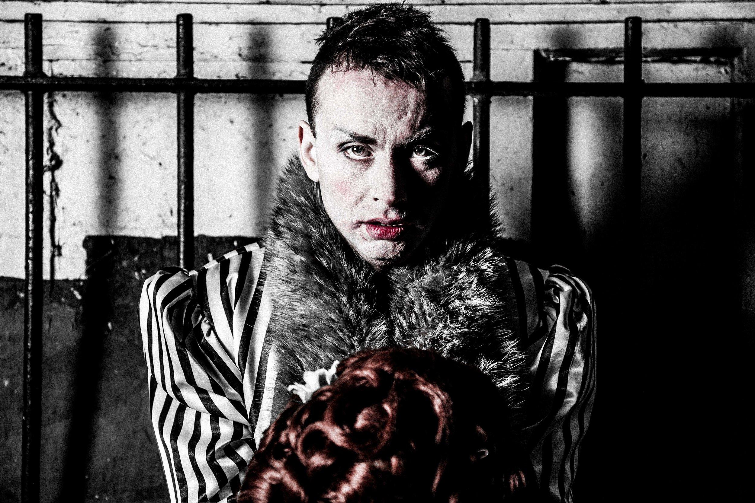 DAN WALLACE AS AN IMPRISONED ERNEST PARKINSON/KITTY HEARTSTONE (PHOTO CREDIT DANIEL MEE)