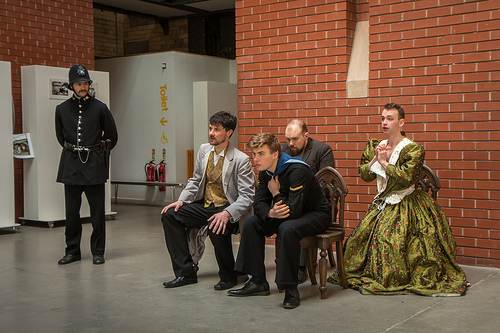 GARETH GEORGE AS A CONSTABLE, JOEL PARRY AS GORTON, RYAN FRANCIS AS WHITEHEAD, JOE BATEMAN AS COORE AND DAN WALLACE AS PARKINSON (LEFT TO RIGHT) (PHOTO CREDIT NICHOLAS CHINARDET)