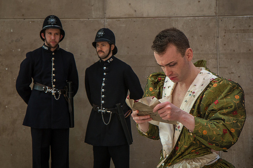 DAN JARVIS AND GARETH GEORGE AS CONSTABLES, DAN WALLACE AS PARKINSON (LEFT TO RIGHT) (PHOTO CREDIT: NICOLAS CHINARDET)