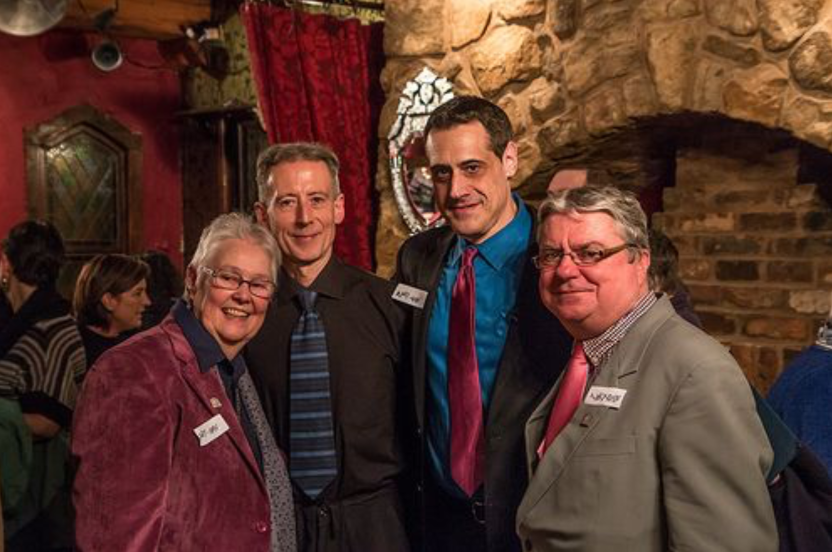 Friends and associates of OUTing the Past (l to r): Sue Sanders (Schools OUT UK), Peter Tatchell (Peter Tatchell Foundation), Stuart Milk (Harvey Milk Foundation), Tony Fenwick (Schools OUT UK)
