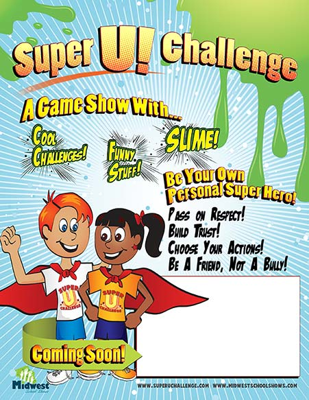 """Free printable posters help students get excited about the """"Super U! Challenge"""" assembly presentation"""