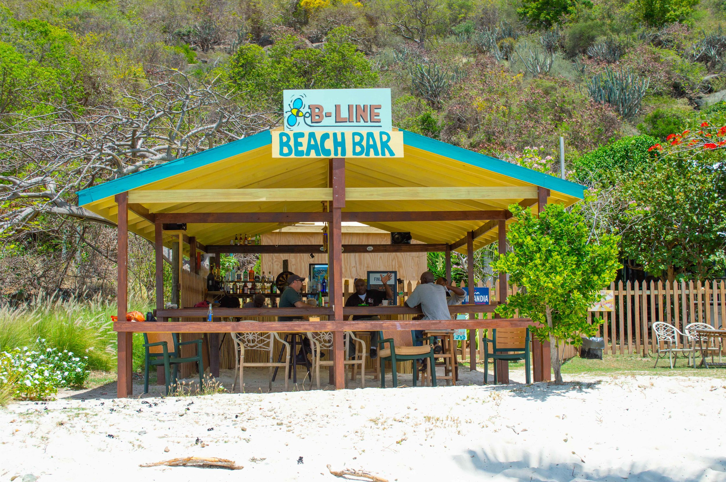 B-Line Beach Bar - A fairly new beach bar, B-Line Bar is located on Little Jost Van Dyke. Guests usually end up at the B-Line after renting a dinghy from Jost Van Dyke SCUBA. It's a great place to re-charge after exploring Sandy Cay and Sandy Spit. Order their popular