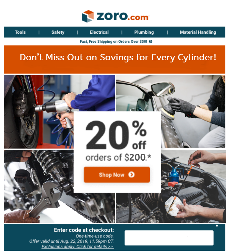 Reminder Email    Subject Line:  Step on the Gas! Last Day to Save 20% Off $200+ on Auto & Truck!   Pre-header:  From Mufflers to Air Fresheners, We Have Everything Your Car Needs!