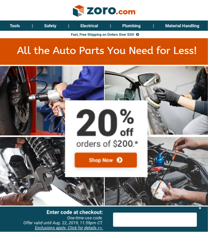 Initial Email    Subject Line:  Power Your Pistons with 20% Off $200+ on Auto & Truck Supplies!   Pre-header:  Save on Brake Pads, Windshield Wipers, and More!