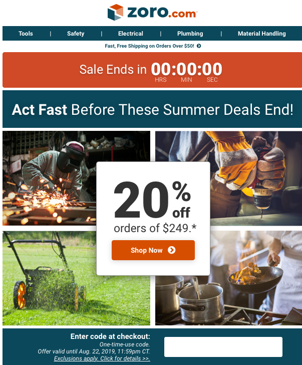 Reminder Email    Subject Line:  Final Hours to Save 20% Off Orders of $249+!   Pre-header:  Last Day to Heat Up Your Savings!