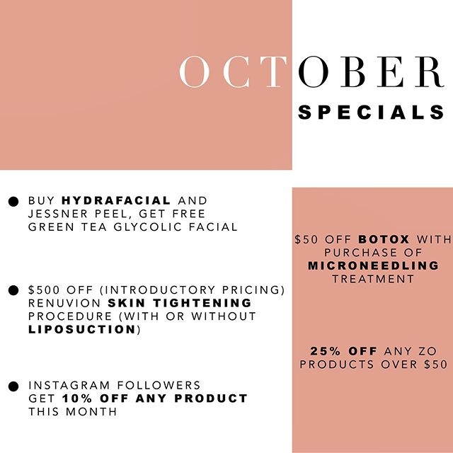 It's that time again... we have some amazing specials this month! ✨ Facials, @botoxcosmetic, @zoskinhealth products... and pay close attention to our new @renuvion Skin Tightening treatment ✨