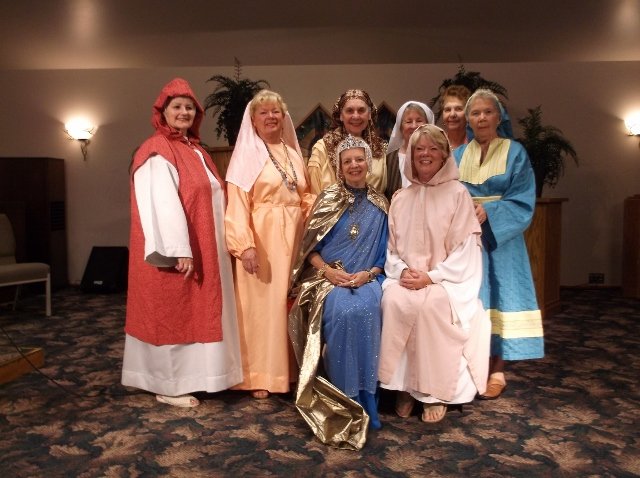 Back row:  Shari Patchin (Ruth), Laura Barrett (Sarah), Suzanne Toaz  (Mary of Bethany), Joann Visotsky (Rebekah), Sharon Garrison (not in costume—our narrator), and Ann Burczyk (Hannah).  Front row:  Gay Dimock (Queen Esther) and Judy English (Mary, Mother of Jesus).  Not pictured,  Margaret Mowers (our alternate narrator).