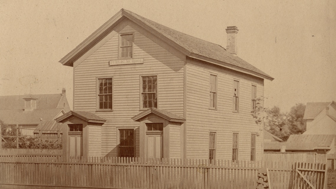 """School house on Fort Street in Detroit near Elmwood Cemetery believed to be the """"black"""" school during the Underground Railroad days. As many as 700 students were taught in this building prior to the Civil War when it was illegal to educate black people."""
