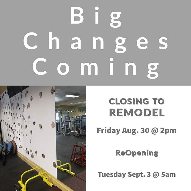 We have some exciting news. We are going to be remodeling the gym (we were never very fond of the yellow walls). It's going to look great when we are all finished.  We have already started replacing some mirrors.  We will be closing Labor Day weekend on Friday 8/30 @ 2:00pm to complete the remodel and opening again on Tuesday Sept. 3 @ 5am.