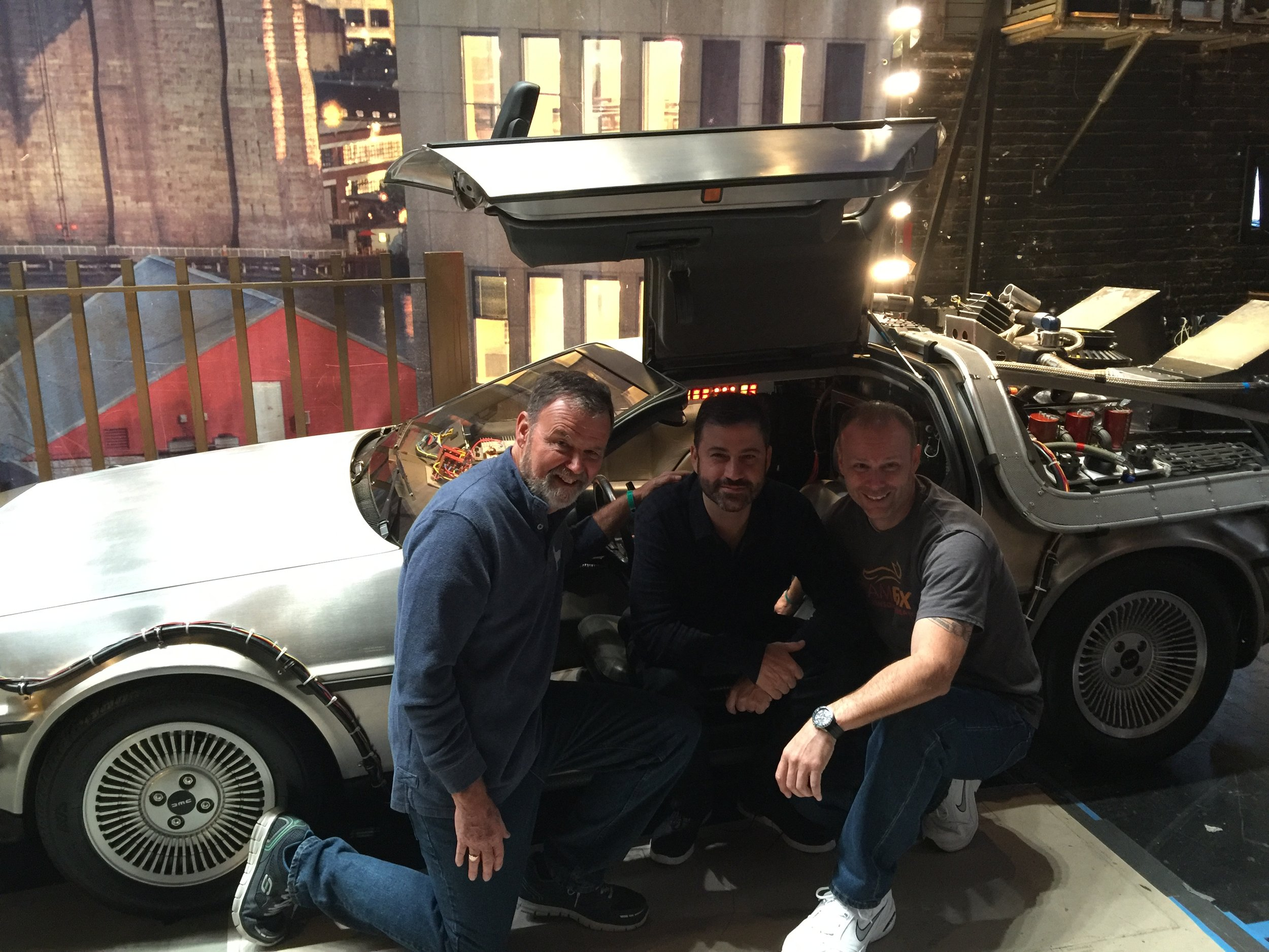 Bill and Patrick with the one and only Jimmy Kimmel. This was taken at the Brooklyn Academy of Music on October 21, 2015…..BTTF Day when he had Michael J Fox and Christopher Lloyd on as Doc and Marty. Our time machine was used and it was awesome!