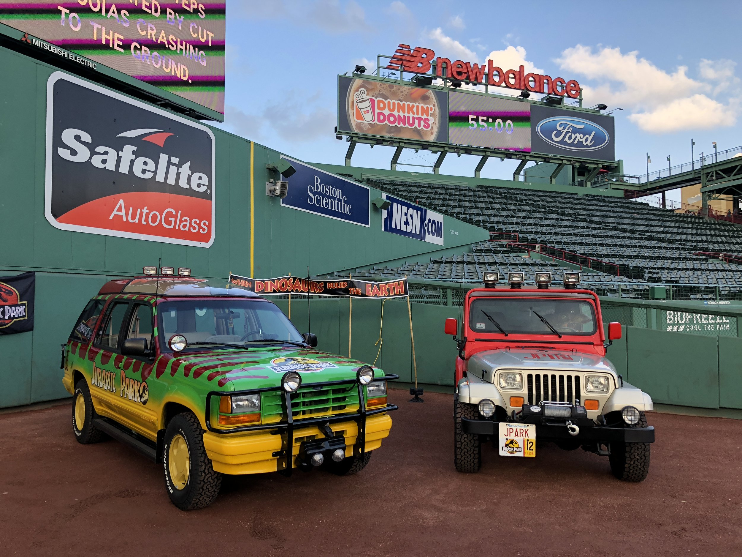 Our Jurassic Park vehicles at Fenway Park in Boston, MA