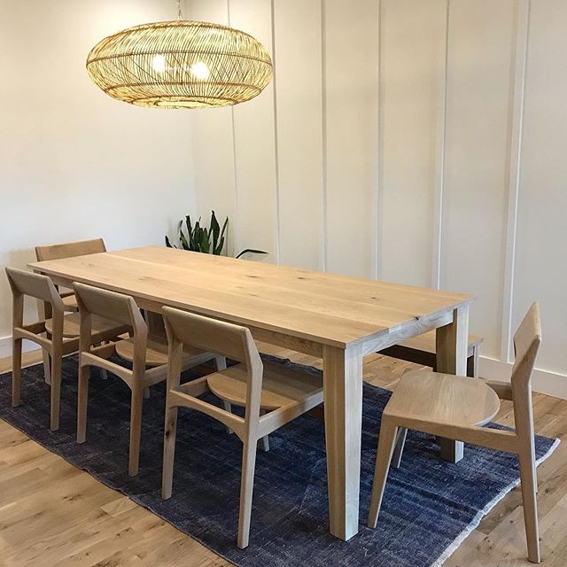 Just delivered this white oak dining set to an awesome family!  Also some killer leather bar stools on deck 😬 Keep your eyes peeled for lots of upcoming projects!