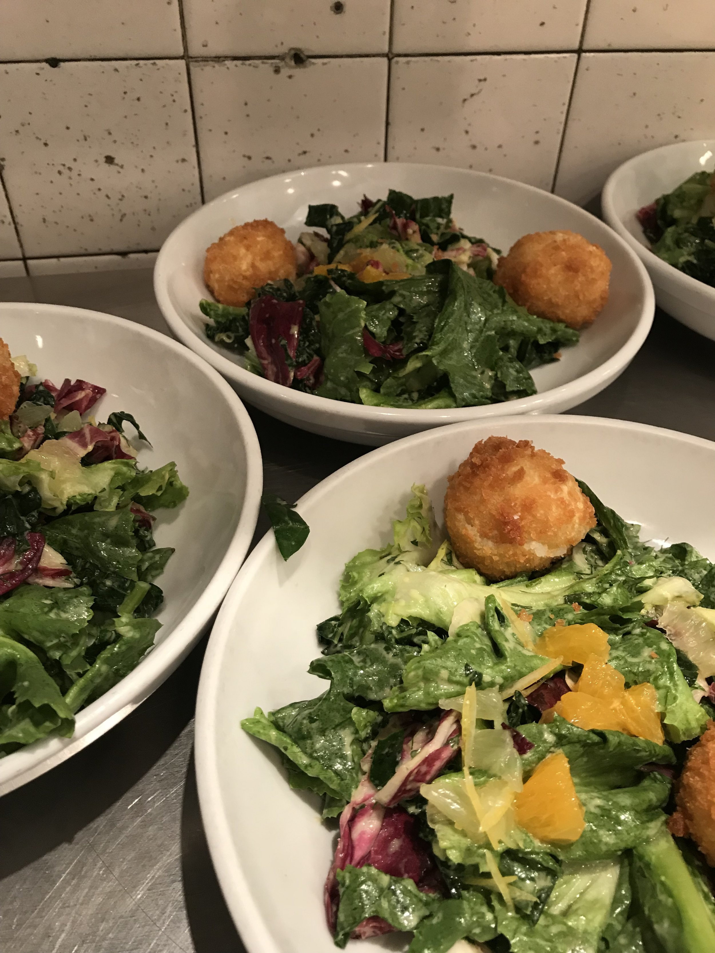 brandade fritter sous chef salad with segmented citrus/ family meal @ prune/ new york, ny  -