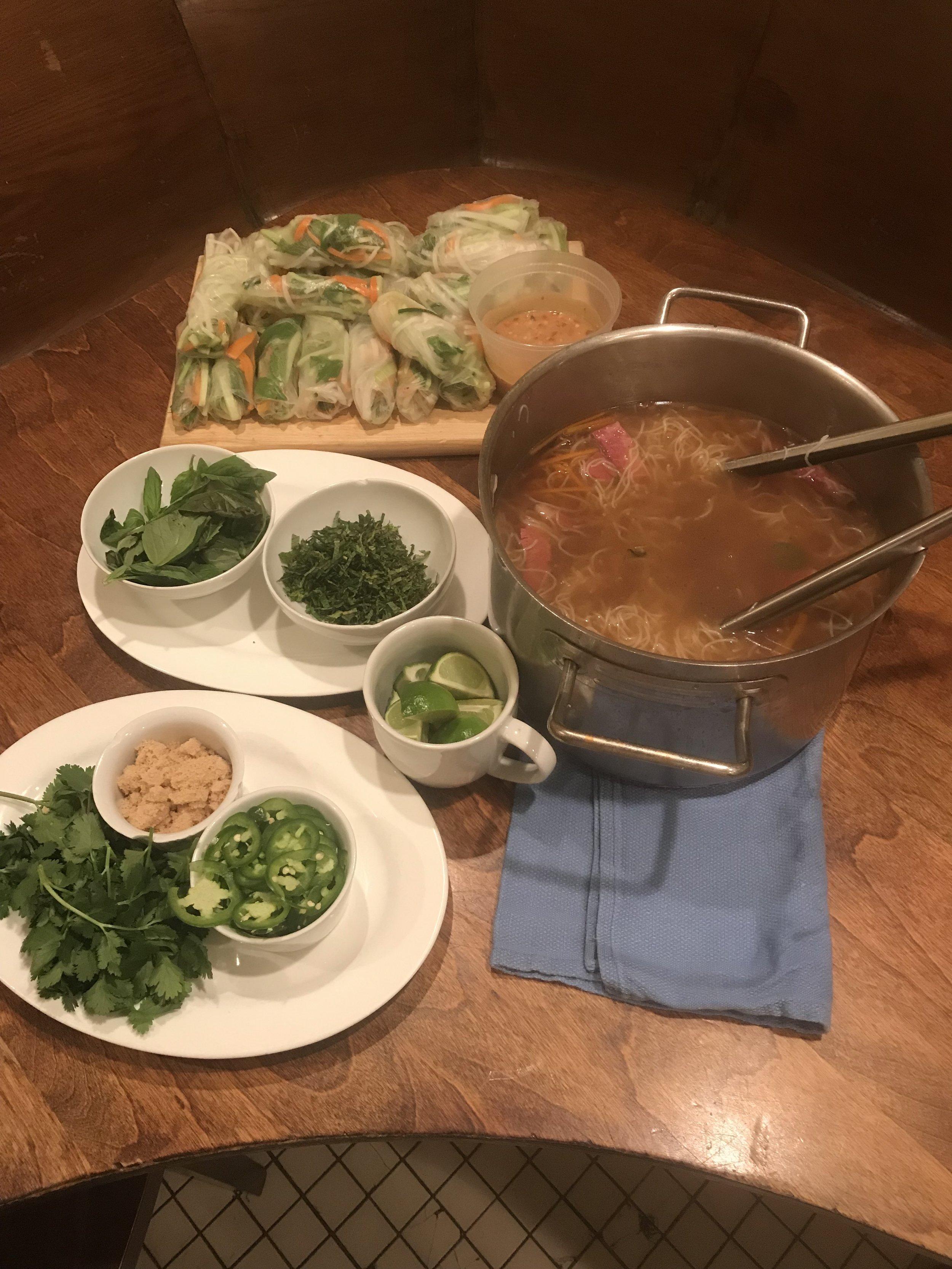 thai pho + spring rolls/ family meal @ prune/ new york, ny -