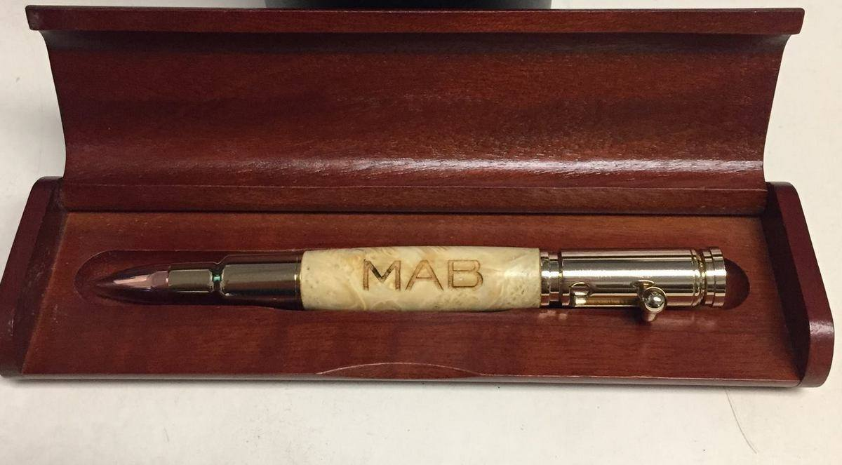 Stunning Box Elder Burl Pen created by www.peakviewpens.com and engraved by us.