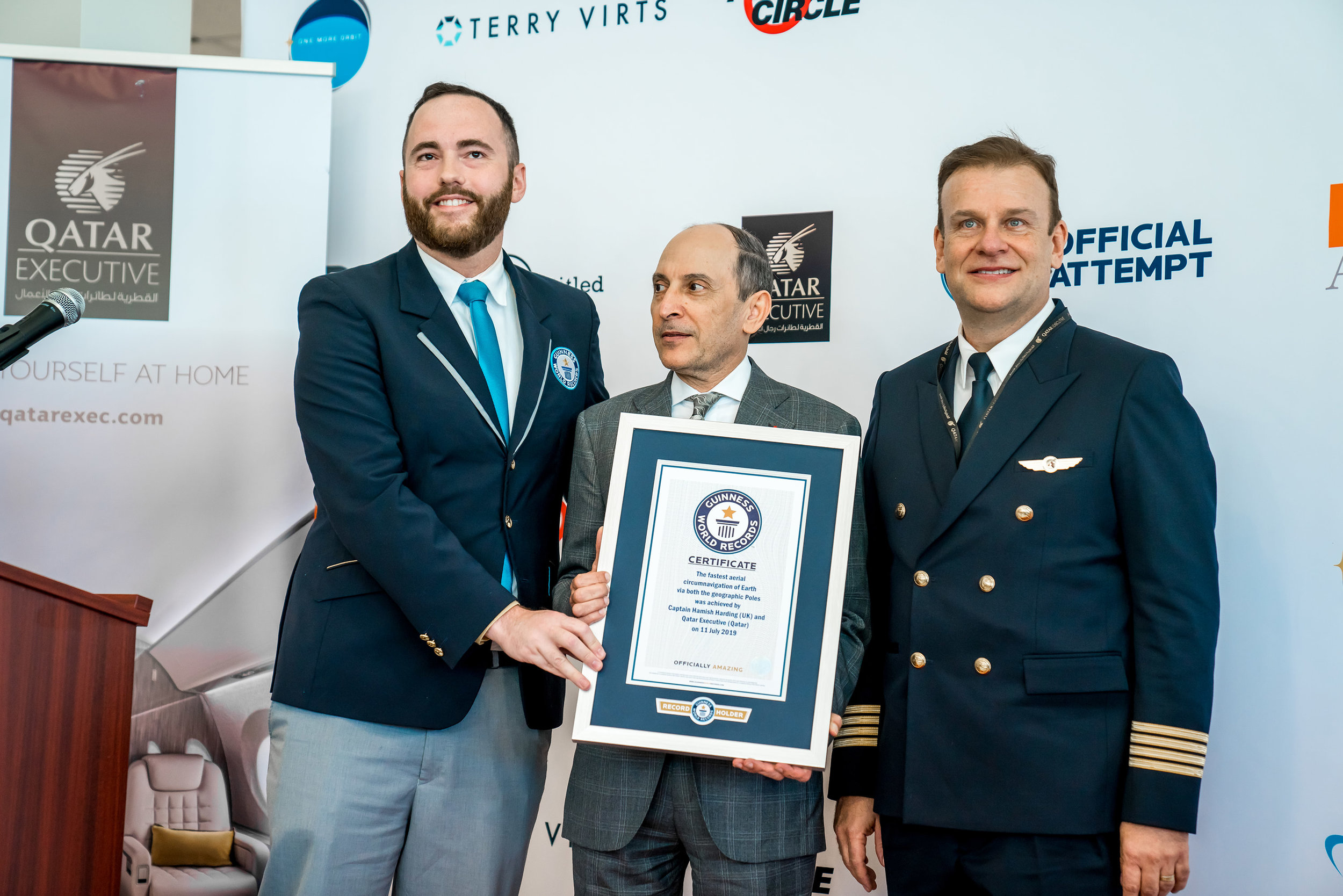 GWR certificate presentation to Qatar Executive Ettore Rodano and Capt Hamish Harding