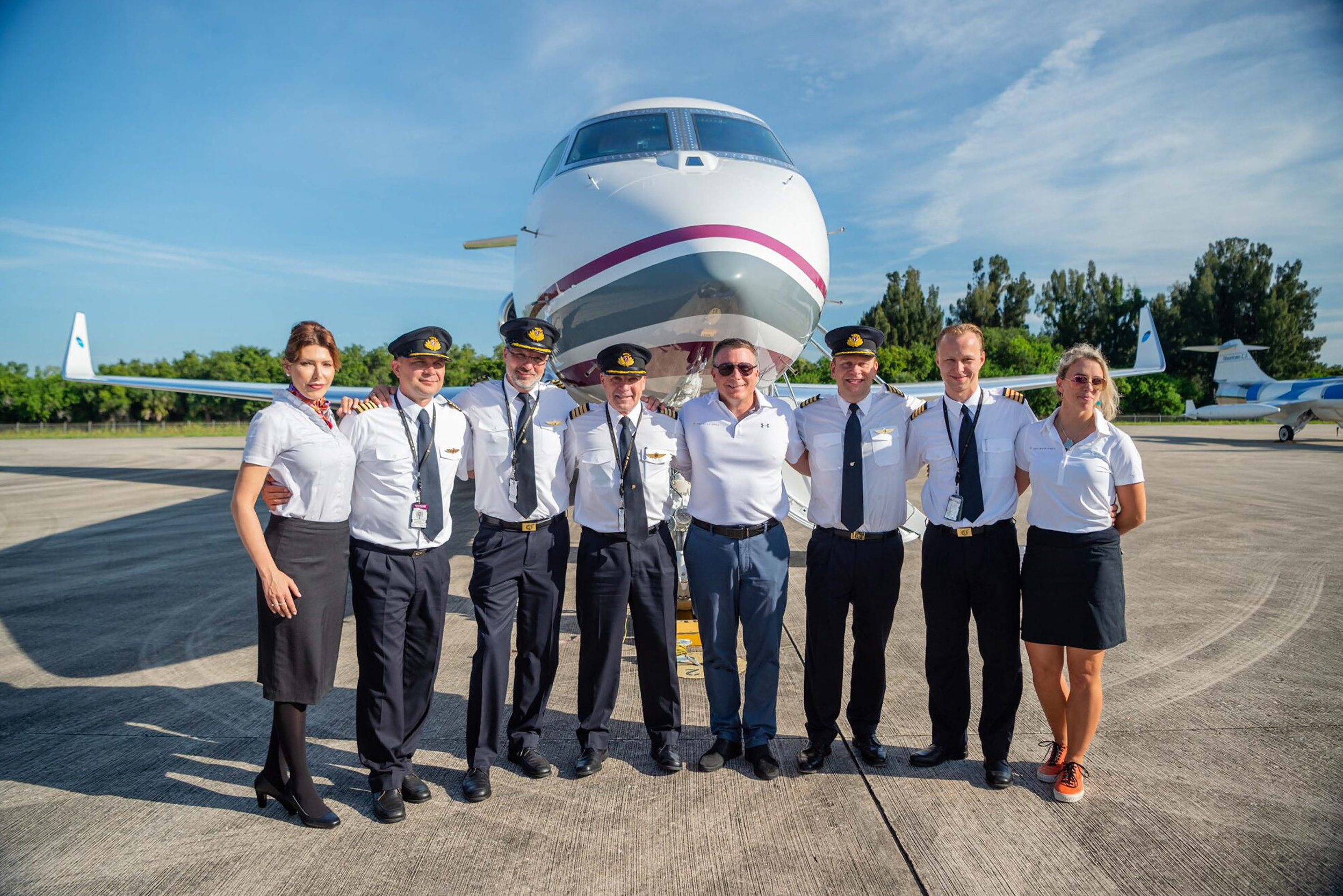 The Crew from left to right: Magdalena Starowicz, Flight Attendant; Capt Yevgen Vasylenko, Pilot; Capt Jacob Ove Bech, Pilot; Capt Jeremy Ascough, Pilot; Col Terry Virts, Astronaut, Capt Hamish Harding Mission Director/Pilot; Benjamin Rueger, Lead Engineer