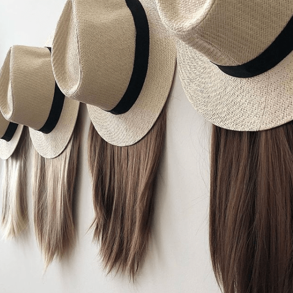halo wig hats - a halo of hair attached to the hat