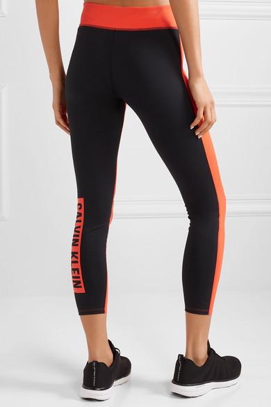 Printed two-tone stretch leggings