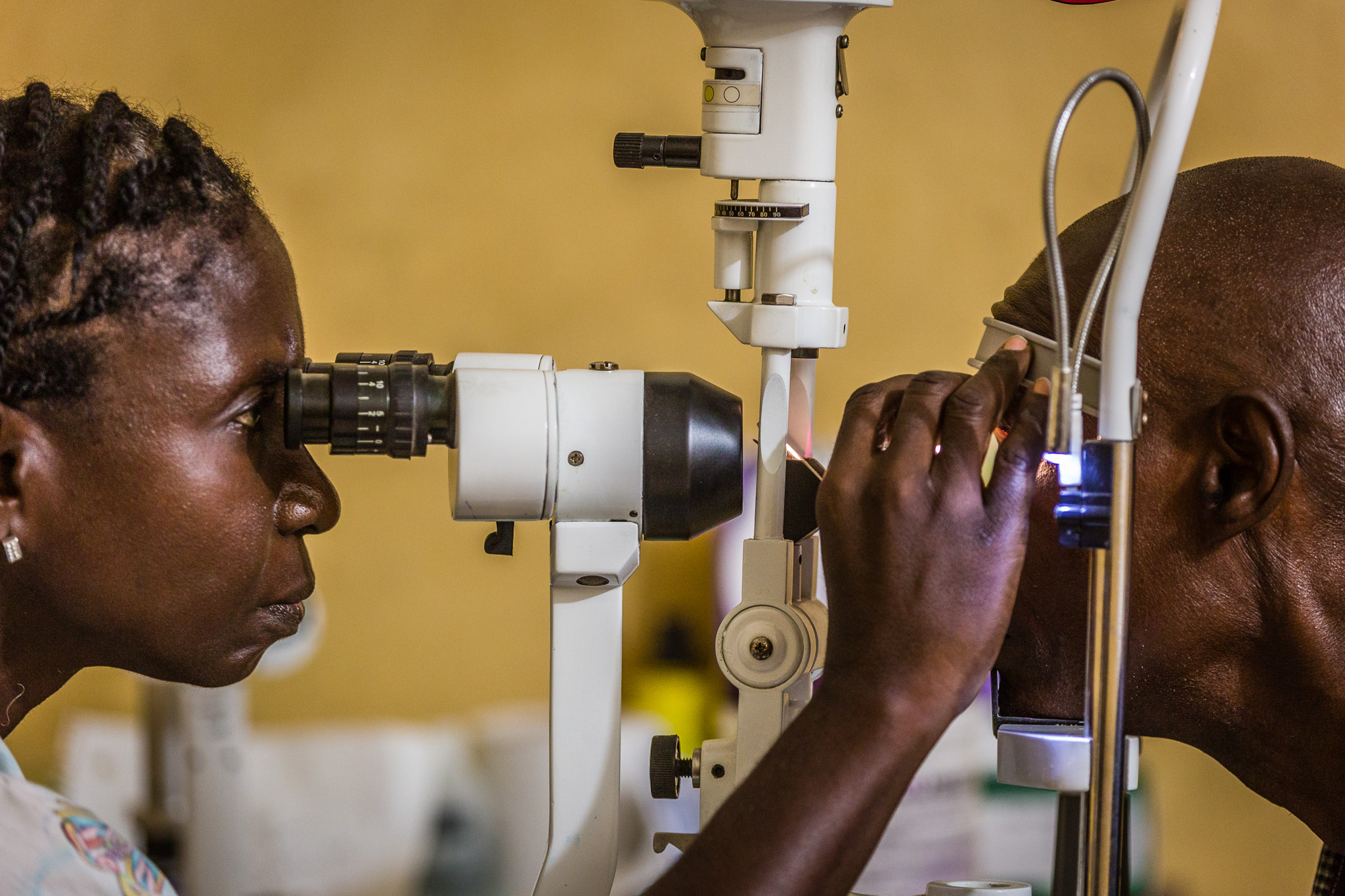 Slit lamp examination, Monrovia, Liberia  submitted by  Terry Cooper  for  #StrongerTogether  Photo Competition