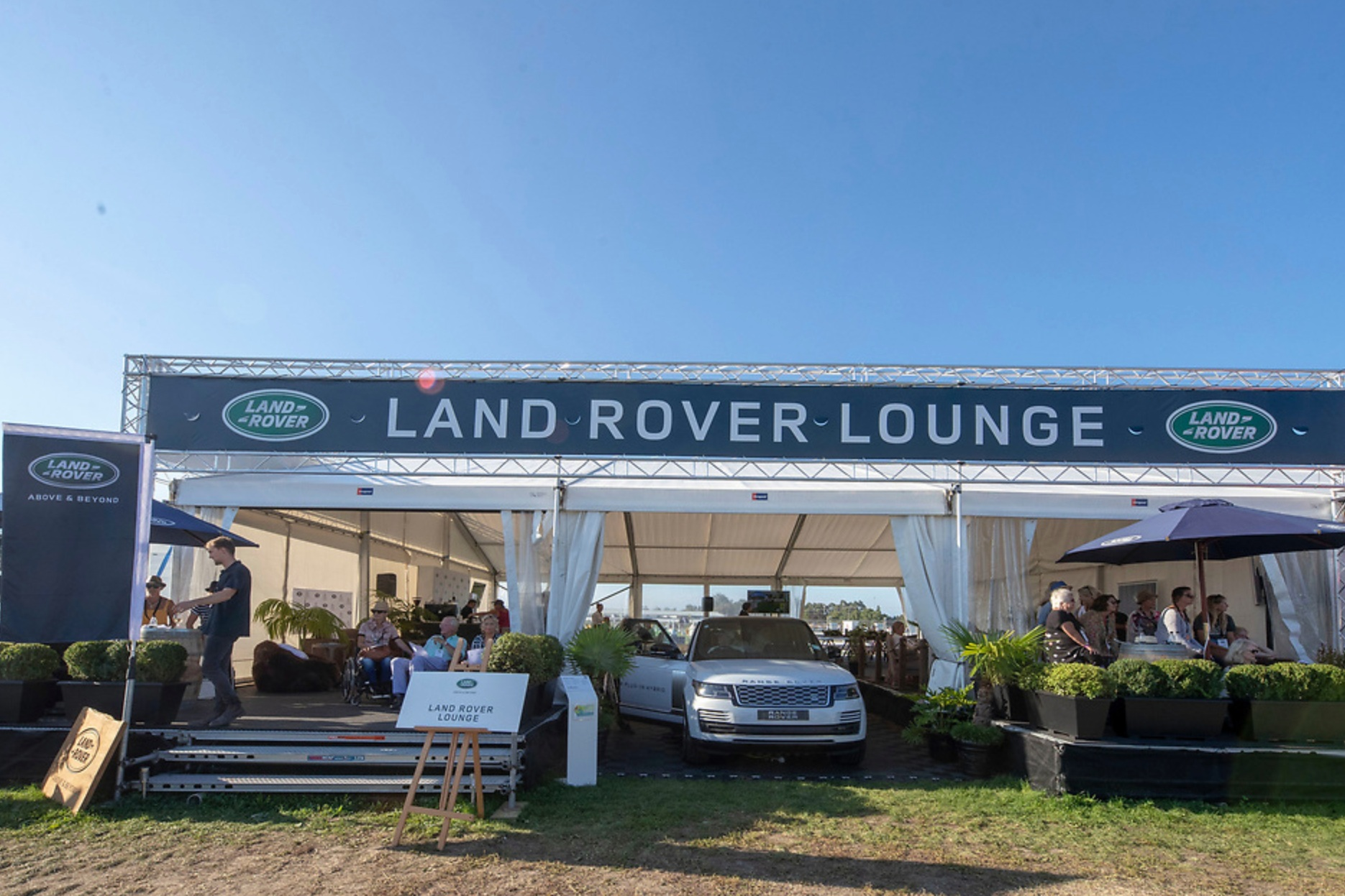 Land Rover Lounge - Full furniture marquee for Land Rover VIP guests at Horse of the Year 2018.