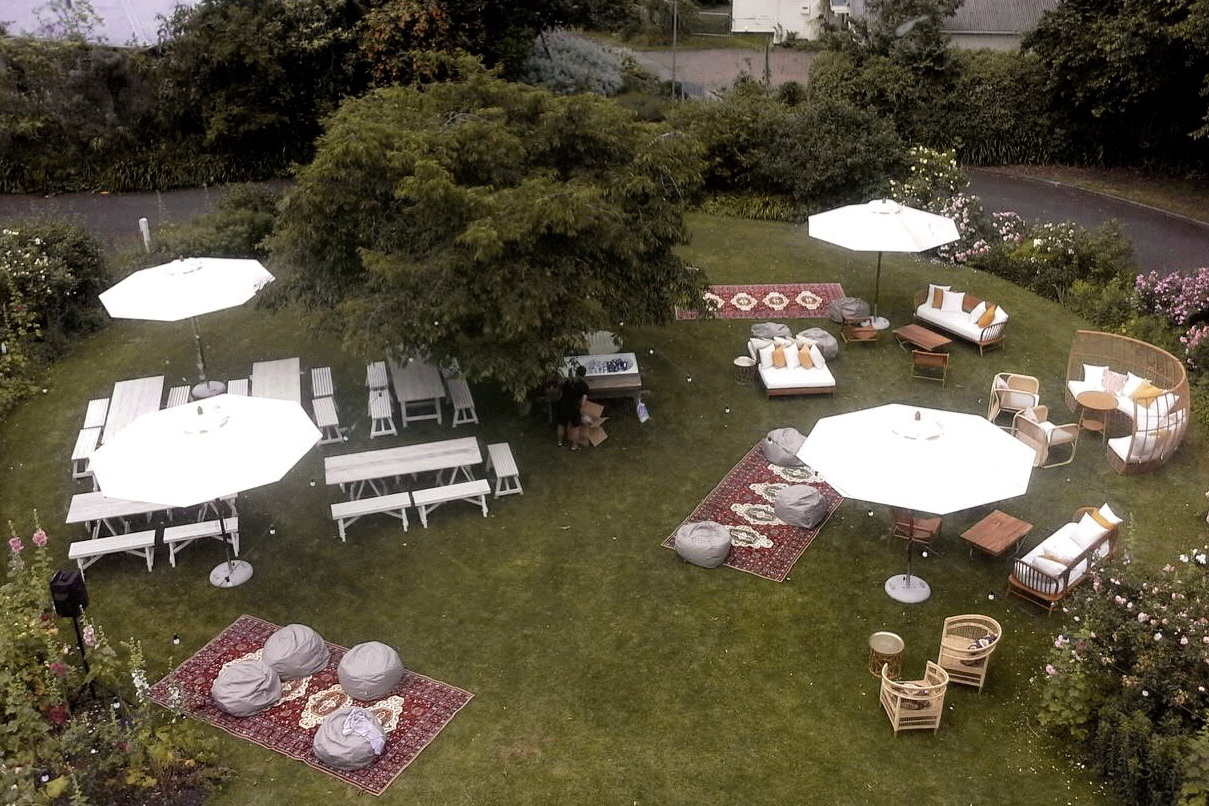 Black Barn Vineyards Christmas Work Function - Lounging areas for afternoon in the sun for BBV end of year celebrations.