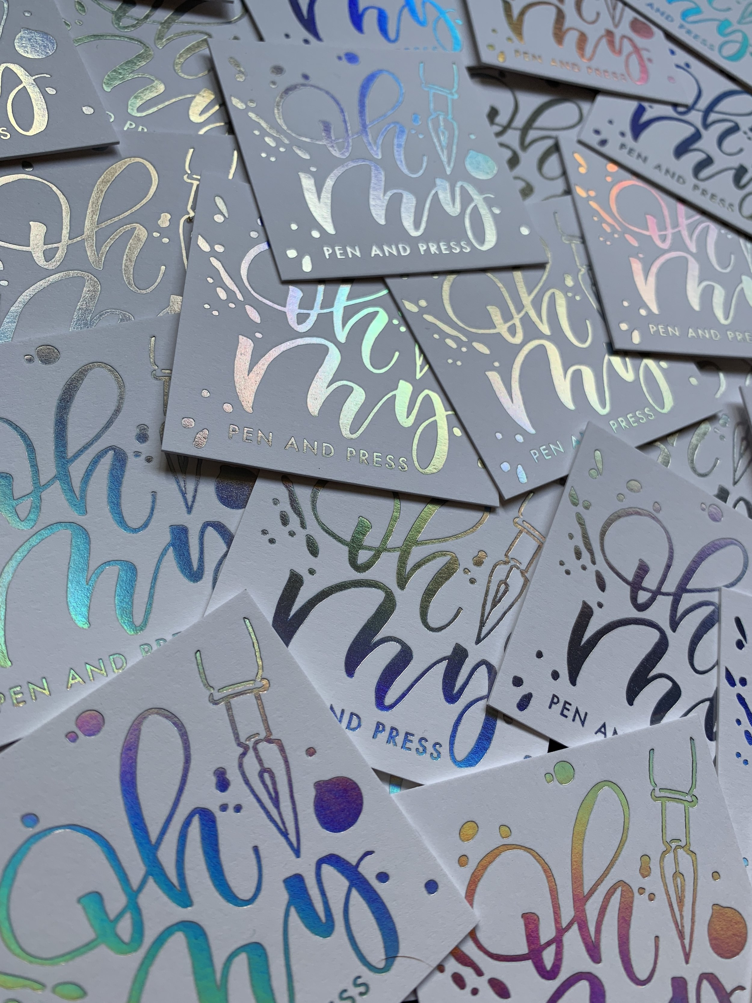 Square and holographic foil business cards