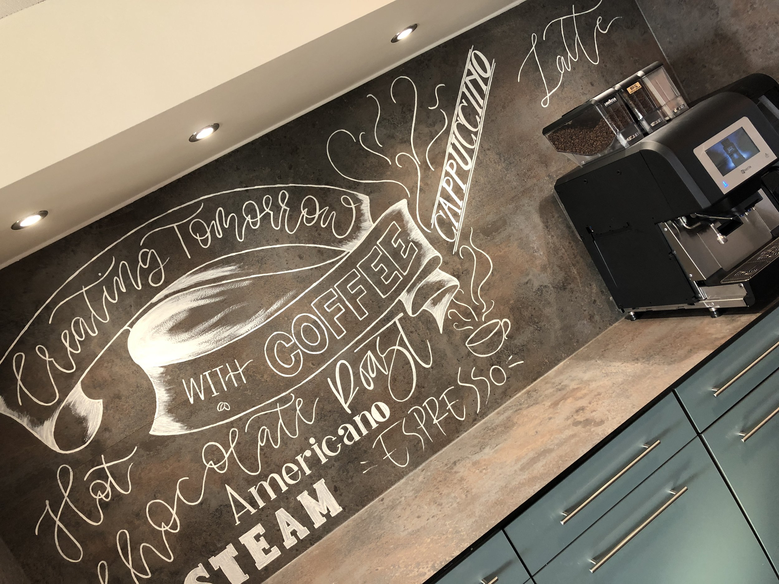 Capital International handprinted coffee stations