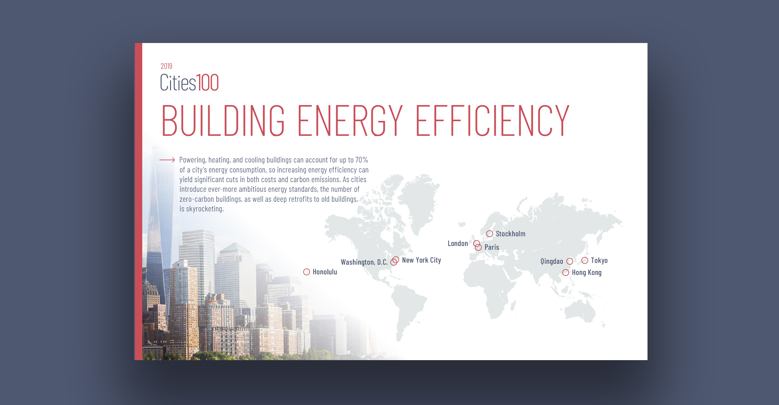 Building Energy Efficiency - Powering, heating, and cooling buildings can account for up to 70% of a city's energy consumption, so increasing energy efficiency can yield significant cuts in both costs and carbon emissions. As cities introduce ever-more ambitious energy standards, the number of zero-carbon buildings, as well as deep retrofits to old buildings, is skyrocketing.