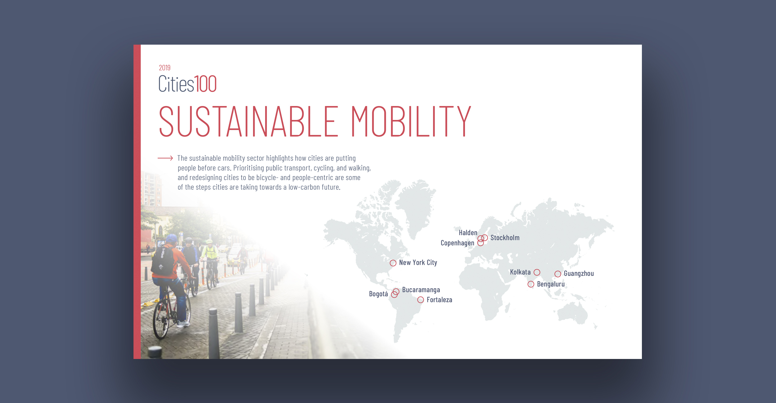 Sustainable Mobility - The sustainable mobility sector highlights how cities are putting people before cars. Prioritising public transport, cycling, and walking, and redesigning cities to be bicycle- and people-centric are some of the steps cities are taking towards a low-carbon future.