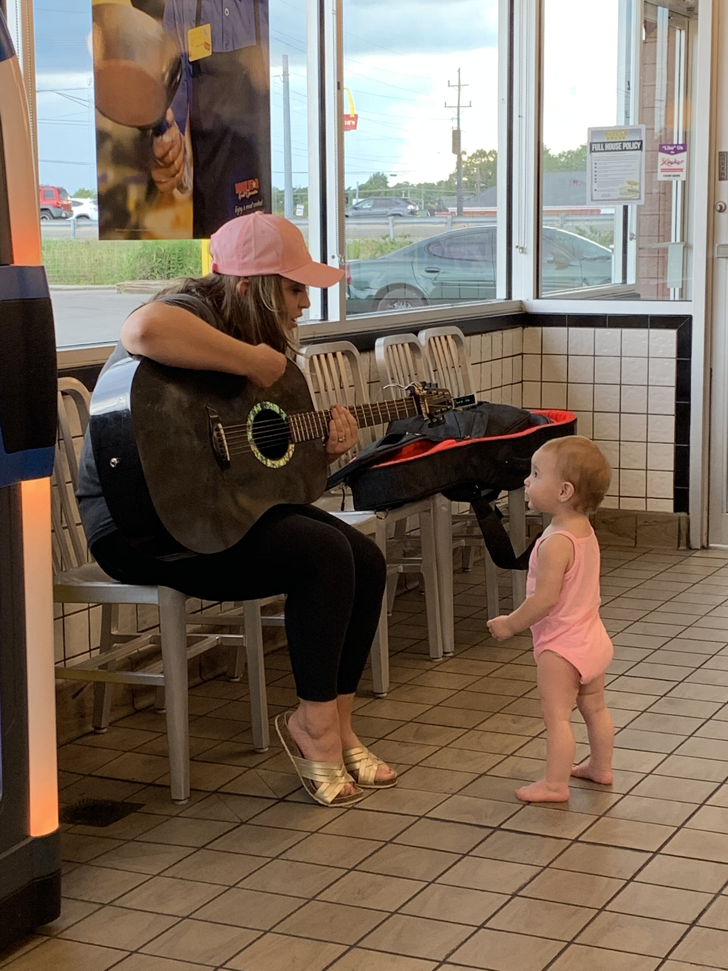 As part of the road trip from Nashville to Morgantown, West Virginia, Chancie provided content for WSM Radio, Waffle House and Gray Line Tennessee. She stop to play to fans inside the Waffle House, including the little girl celebrating her birthday above. She also wrote a jingle for Gray Line while she was traveling on the Sprinter provided by Gray Line.