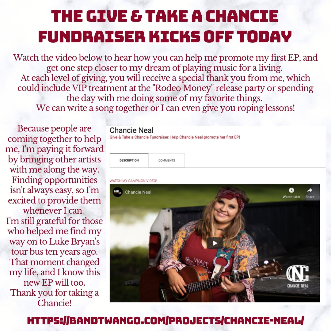 Click here  to watch the video for the Give & Take a Chancie Campaign.