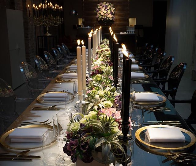 We host many bespoke private dinners at the Violin Factory. This candlelit dinner for @maestragroup shows off our dining table in the most elegant form.