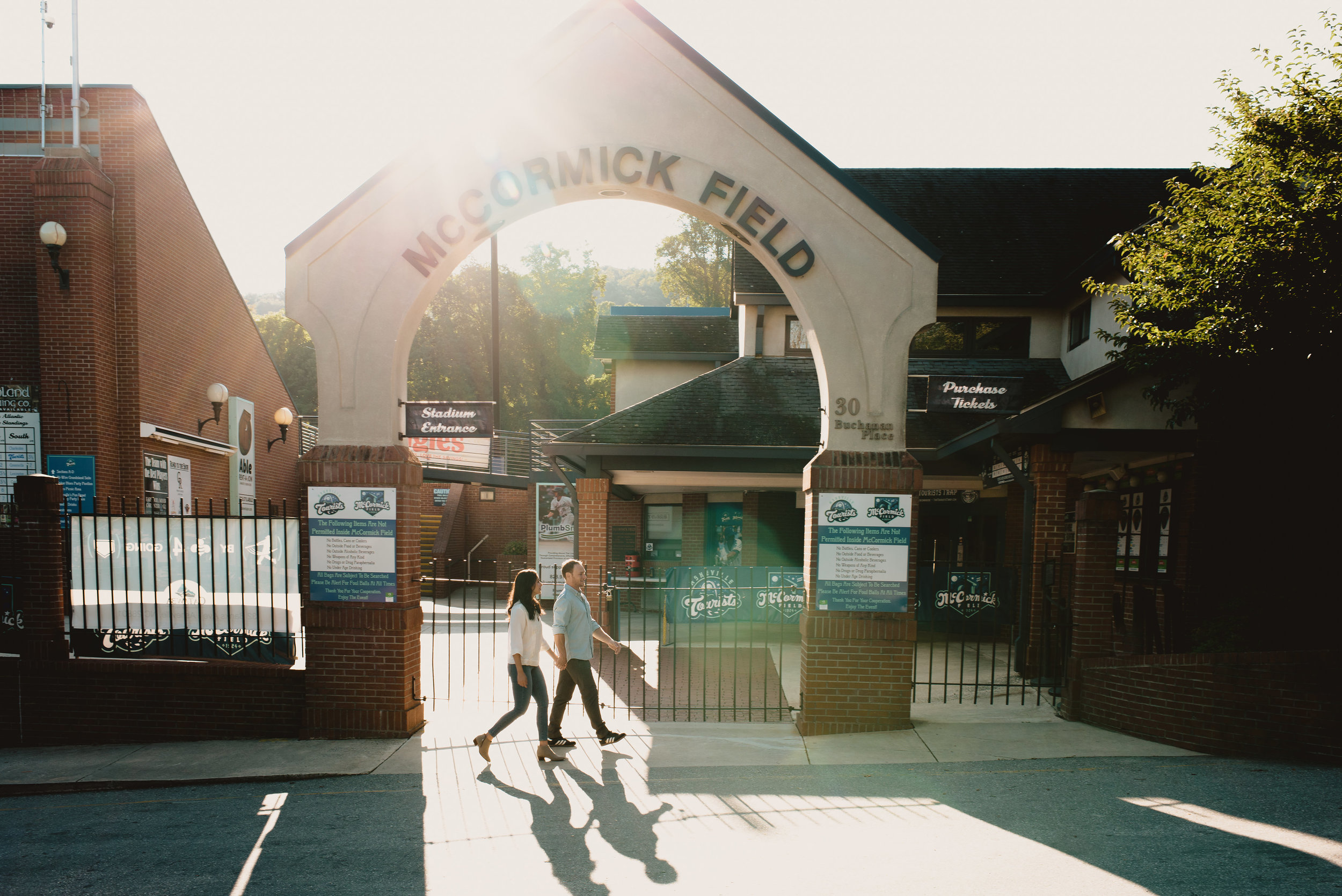 Outside McCormick Field, home to minor league team the Asheville Tourists.