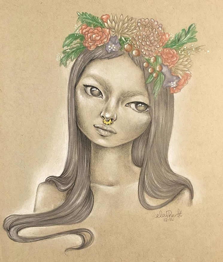 """""""Flower Child""""  Graphite & Mixed Media on Toned Paper"""