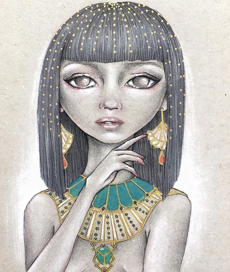 """Pharaoh"" Graphite & Mixed Media on Toned Paper"