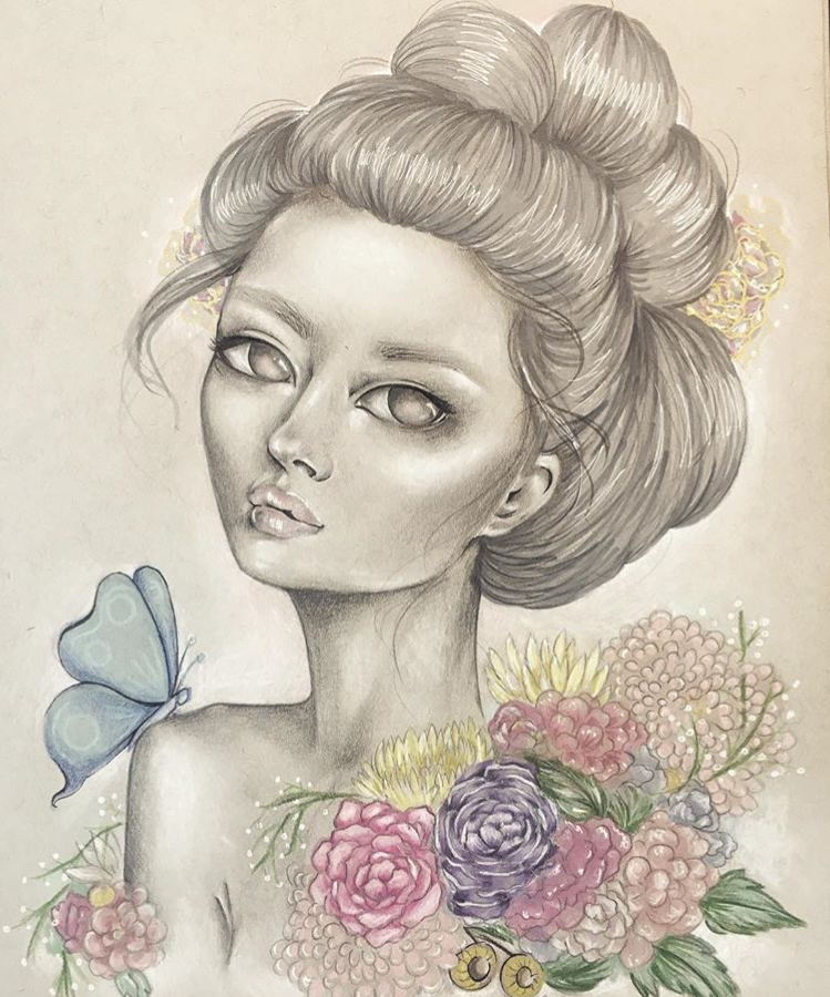 """""""Jardin"""" Graphite & Mixed Media on Toned Paper"""