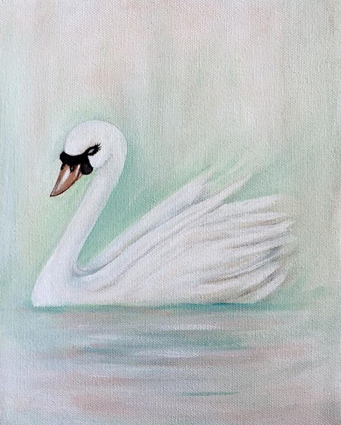 """""""Swan"""" Acrylic on canvas"""