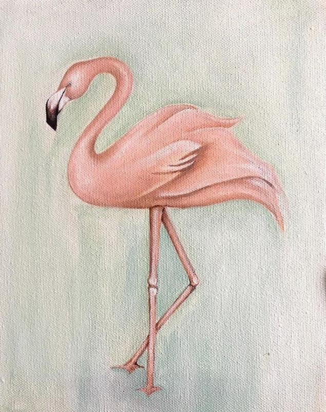 """Flamingo"" Acrylic on canvas"