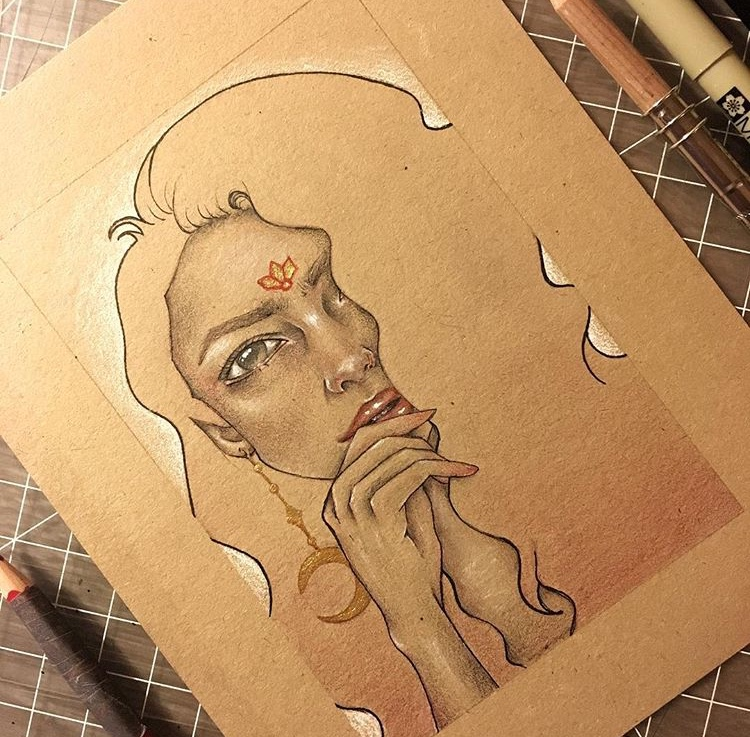 """""""Arnelle"""" Graphite & Mixed Media on Toned Paper"""