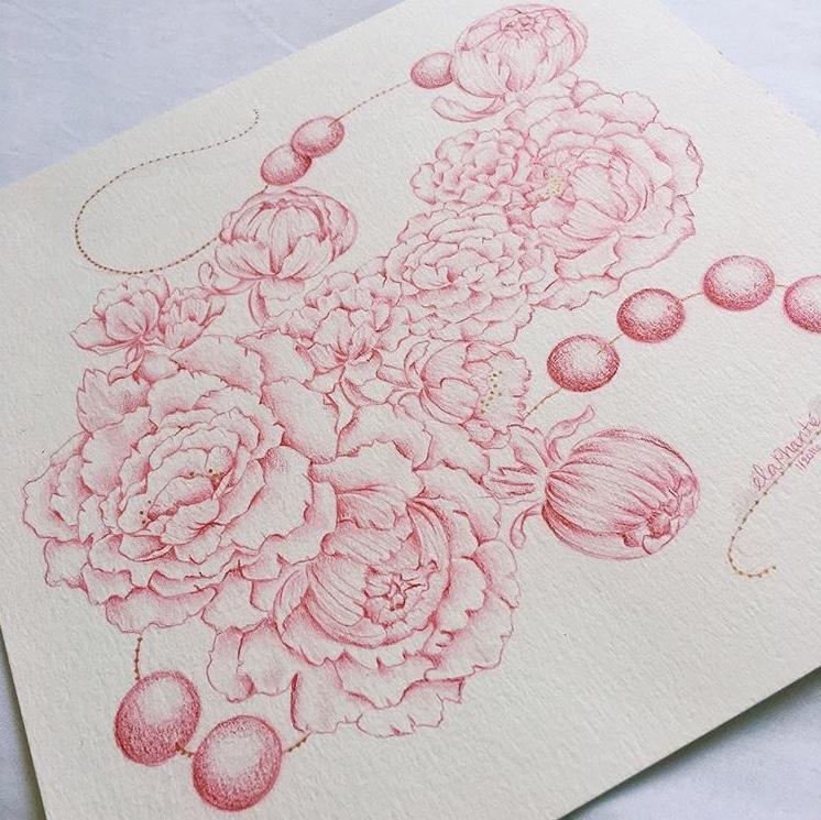 Crimson Floral Study Colored Pencil on watercolor paper