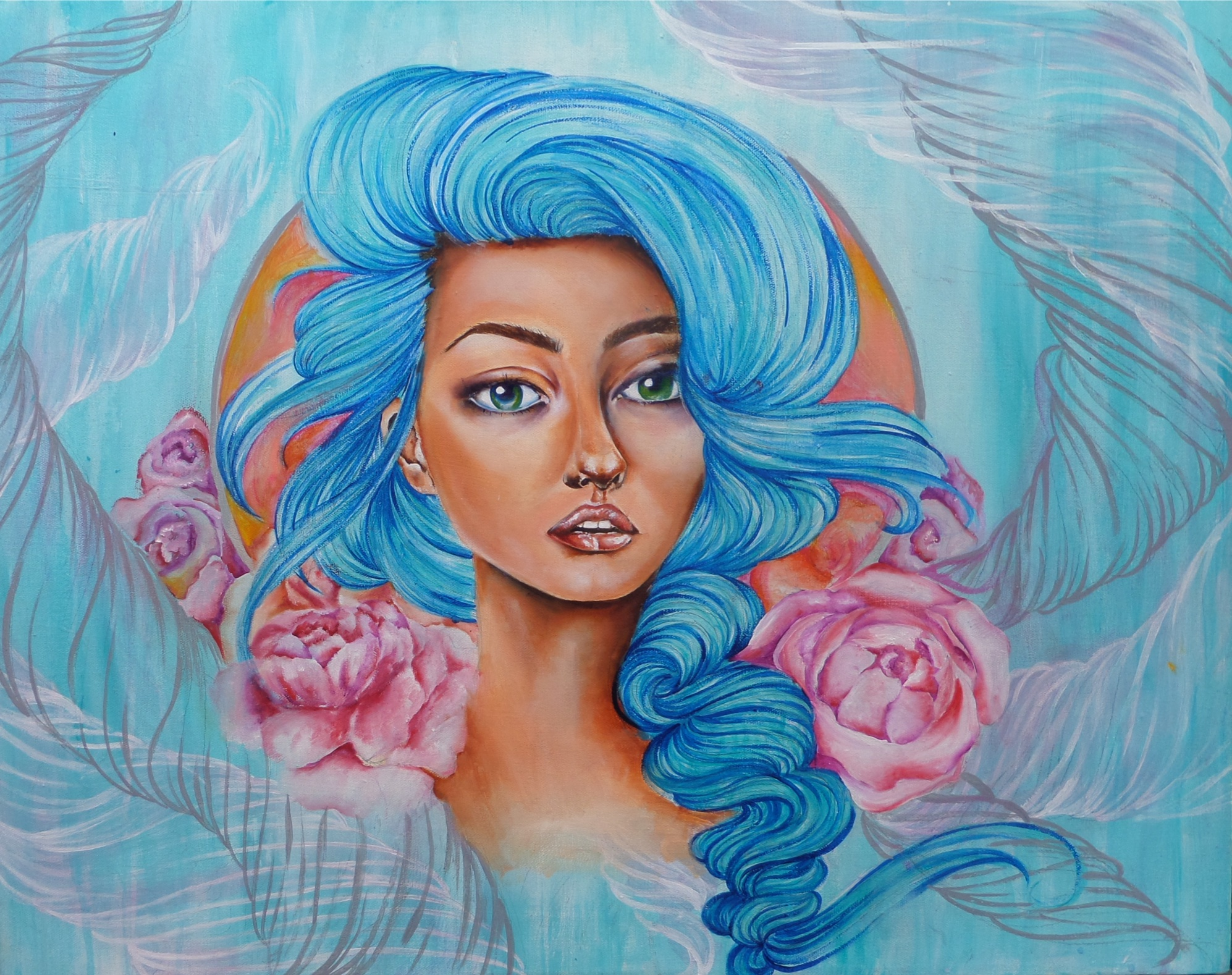 """""""Seeing Blue"""" Oil on canvas"""