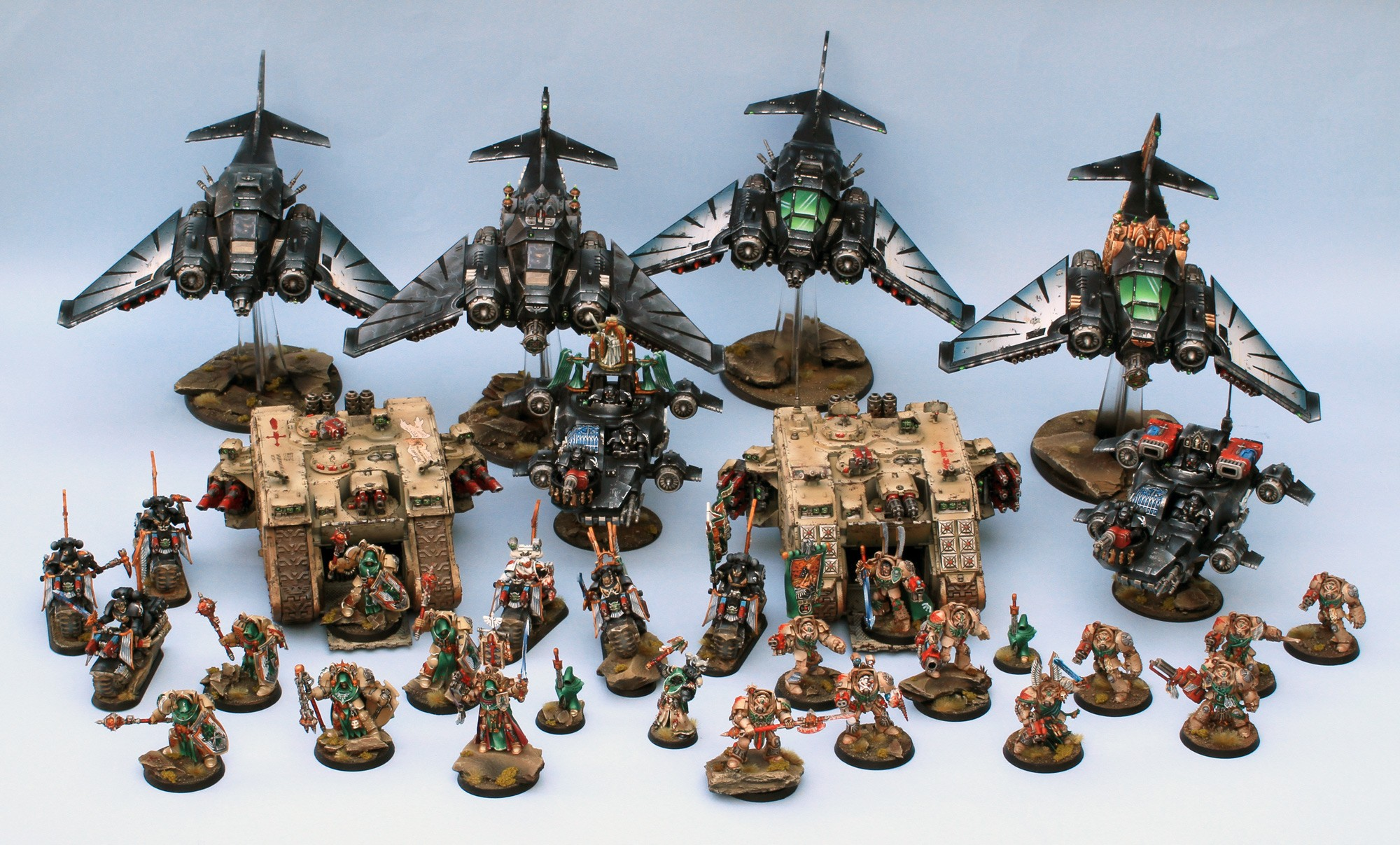 A mighty Dark Angels detachment, combining Ravenwing, Deathwing and character models, painted in a short time period.