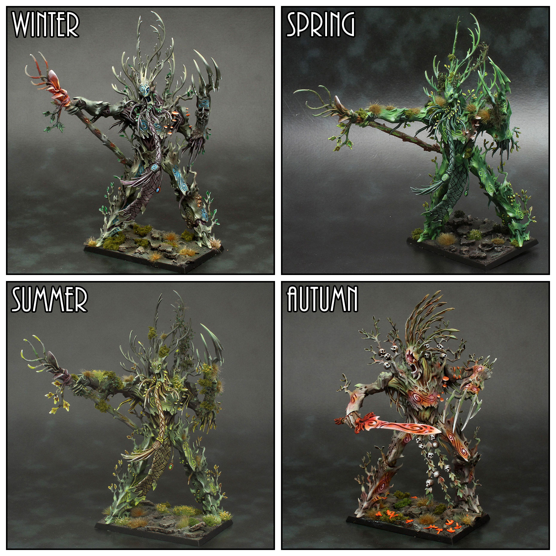 A quartet of Treelords, painted to represent the four seasons, created as a display project.