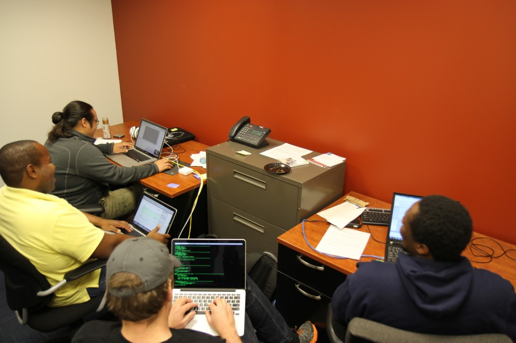 Team hard at work on their game build