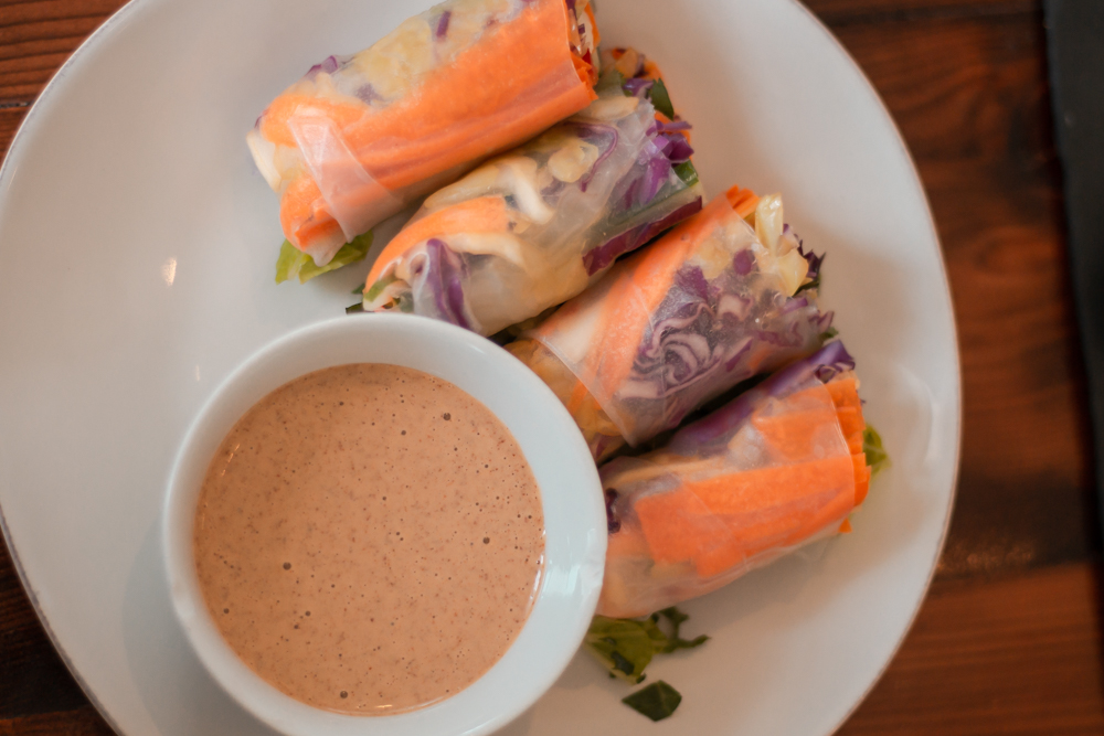 Summer Rolls with a savory peanut sauce dip.