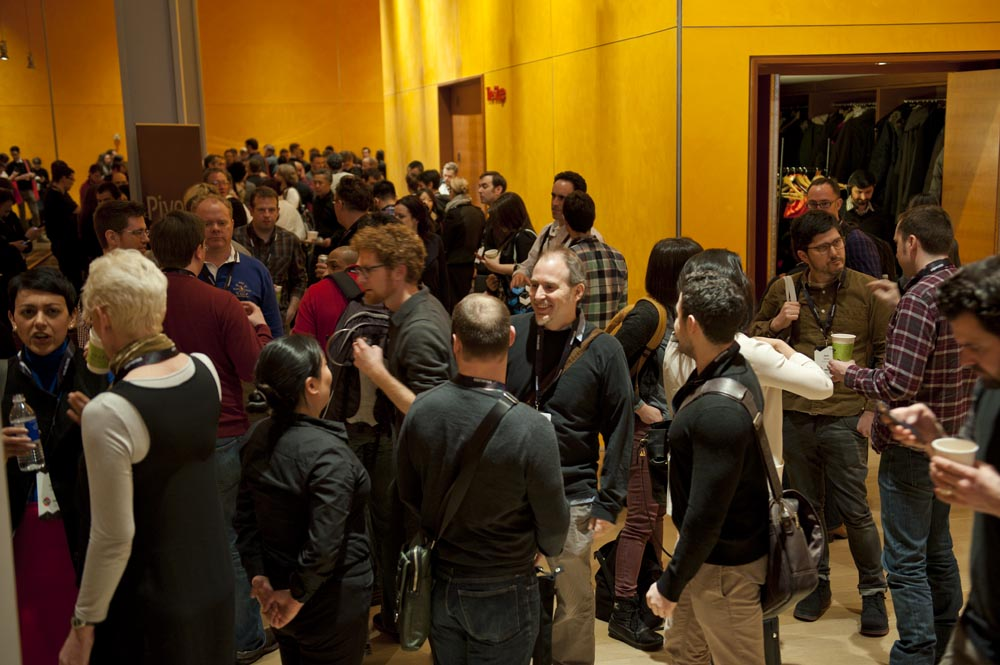 Preview Events - visualized conference - main stage presentation - times center lobby attendees.jpg