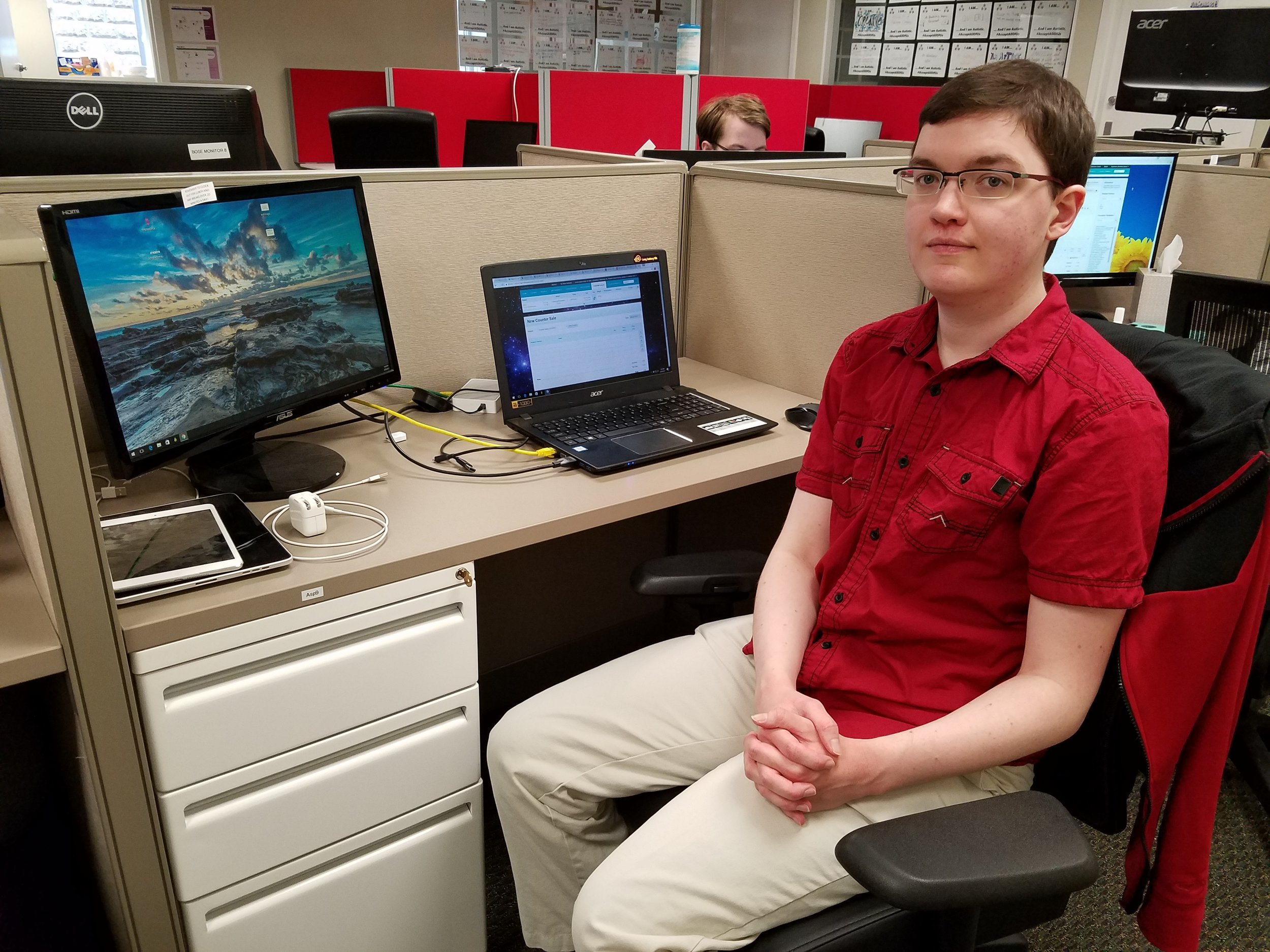 """""""For a while, I almost felt this job was too good to be real. What are the odds that a company that hires autistic individuals, and does work I like, and is close to my house, exists?""""  -Ian, 30 years old, QA Lead since 2016"""